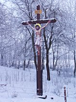Kreuz an der Strasse nach Nový Oldřichov - Januar 2008